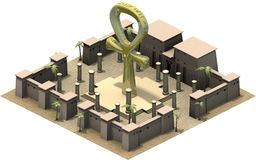 Isometric κτήρια της αρχαίας Αιγύπτου, ankh σύμβολο τρισδιάστατη απόδοση Στοκ εικόνες με δικαίωμα ελεύθερης χρήσης