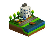 Isometric κτήρια, τοπίο, δρόμος και ποταμός πόλεων Στοκ εικόνες με δικαίωμα ελεύθερης χρήσης