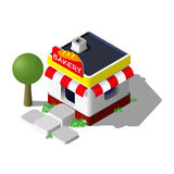 Isometric κτήριο αρτοποιείων ελεύθερη απεικόνιση δικαιώματος