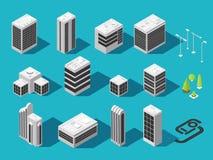 Isometric κτήριο για το τρισδιάστατο διανυσματικό σύνολο χαρτών πόλεων απεικόνιση αποθεμάτων