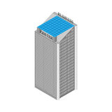 Isometric κτήριο εμπορικών κέντρων με τους ανελκυστήρες και τη στέγη των ηλιακών πλαισίων Στην άσπρη ανασκόπηση επίσης corel σύρε Στοκ Εικόνες