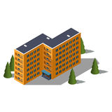 Isometric κτήριο ξενώνων διανυσματική απεικόνιση