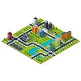 Isometric μεγάλος χάρτης πόλεων διανυσματική απεικόνιση