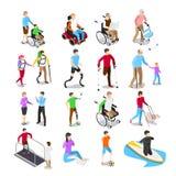 Isometric με ειδικές ανάγκες άτομα Προσοχή ανικανότητας, με ειδικές ανάγκες ηλικιωμένος πρεσβύτερος στην αναπηρική καρέκλα και δι διανυσματική απεικόνιση