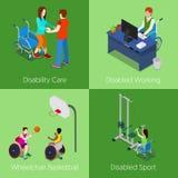 Isometric με ειδικές ανάγκες άτομα Προσοχή ανικανότητας, άτομα με ειδικές ανάγκες που λειτουργεί, καλαθοσφαίριση αναπηρικών καρεκ Στοκ Φωτογραφία