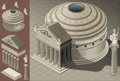 Isometric ναός Pantheon στη ρωμαϊκή αρχιτεκτονική Στοκ Εικόνα