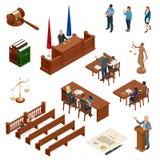 Isometric νόμος και δικαιοσύνη Σύμβολα των νομικών κανονισμών Δικαστικά εικονίδια καθορισμένα Νομικοί δικαστικός, δικαστήριο και  απεικόνιση αποθεμάτων