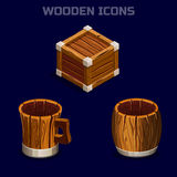 Isometric ξύλινα εικονίδια κινούμενων σχεδίων για το παιχνίδι Στοκ φωτογραφία με δικαίωμα ελεύθερης χρήσης