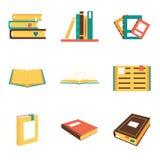 Isometric λογότυπα συμβόλων εικονιδίων βιβλίων που απομονώνονται επίπεδα Στοκ εικόνα με δικαίωμα ελεύθερης χρήσης