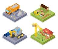 Isometric Οικοδομική Βιομηχανία Βιομηχανικός γερανός, ιδιωτικοί σπίτι και φλοιός του ξύλου διανυσματική απεικόνιση