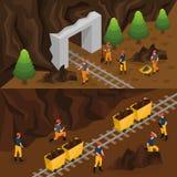 Isometric οριζόντια εμβλήματα βιομηχανίας εξαγωγής άνθρακα ελεύθερη απεικόνιση δικαιώματος