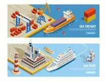 Isometric οριζόντια εμβλήματα μεταφορών θάλασσας ελεύθερη απεικόνιση δικαιώματος
