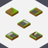 Isometric οδικό σύνολο ατελούς, επισκευών, περιστροφής και άλλων διανυσματικών αντικειμένων Επίσης περιλαμβάνει την κατασκευή, υπ Στοκ εικόνα με δικαίωμα ελεύθερης χρήσης