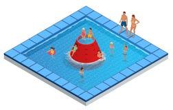 Isometric πάρκο νερού, Aquapark, διανυσματική απεικόνιση φωτογραφικών διαφανειών παιδιών s απεικόνιση αποθεμάτων