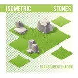 Isometric πέτρες και χορτοτάπητας Στοκ Εικόνες