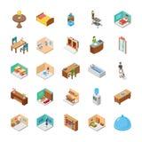 Isometric πακέτο εικονιδίων ξενοδοχείων ελεύθερη απεικόνιση δικαιώματος