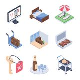 Isometric πακέτο εικονιδίων υπηρεσιών ξενοδοχείων και υπηρεσιών δωματίων απεικόνιση αποθεμάτων