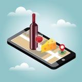 Isometric παράδοση τροφίμων Έρευνα του φραγμού ή του γεύματος Κινητή έρευνα Κατάστημα φραγμών ή κρασιού Καταδίωξη Geo χάρτης Στοκ Εικόνα