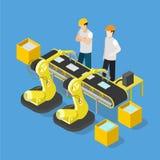 Isometric παραγωγής βιομηχανίας μεταφορέων ταμπλετών Smartphone τρισδιάστατος οριζόντια Στοκ Φωτογραφία