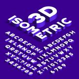 Isometric πηγή αλφάβητου τρισδιάστατες επιστολές, αριθμοί και σύμβολα επίδρασης με τις σκιές ελεύθερη απεικόνιση δικαιώματος