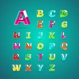 Isometric πηγή αλφάβητου Κεφαλαίο γράμμα Α στο Ζ Στοκ φωτογραφία με δικαίωμα ελεύθερης χρήσης