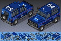 Isometric πλαϊνό όχημα αστυνομίας στη θέση δύο ελεύθερη απεικόνιση δικαιώματος