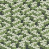 Isometric πράσινος λαβύρινθος στο ύφος τέχνης εικονοκυττάρου Στοκ Εικόνες