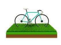 Isometric πράσινο ποδήλατο στην πράσινη χλόη Στοκ Εικόνες