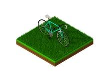 Isometric πράσινο ποδήλατο στην πράσινη χλόη Στοκ φωτογραφία με δικαίωμα ελεύθερης χρήσης