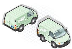 Isometric πράσινο φορτηγό κινούμενων σχεδίων ελεύθερη απεικόνιση δικαιώματος