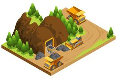 Isometric πρότυπο βιομηχανίας εξαγωγής άνθρακα ελεύθερη απεικόνιση δικαιώματος