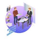 Isometric πρότυπο εγχώριας επισκευής Σχεδιαστής και πελάτης διάνυσμα διανυσματική απεικόνιση