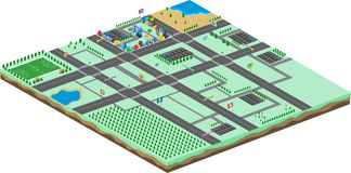 Isometric πρότυπο προτερημάτων παγκόσμιων παιχνιδιών κινούμενων σχεδίων διανυσματική απεικόνιση
