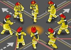 Isometric πυροσβεστήρας εθελοντών πυροσβεστών ελεύθερη απεικόνιση δικαιώματος