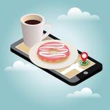 Isometric πόλη Παράδοση τροφίμων Κινητή έρευνα Καφές και doughnut Καταδίωξη Geo χάρτης Isometric πόλη Παράδοση τροφίμων Στοκ Εικόνα