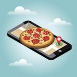 Isometric πόλη Παράδοση τροφίμων Πίτσα Κινητή έρευνα Καταδίωξη Geo χάρτης Isometric πόλη Παράδοση τροφίμων Στοκ φωτογραφίες με δικαίωμα ελεύθερης χρήσης