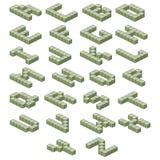 isometric σας τύπων χαρακτήρων σχεδίου κινούμενων σχεδίων αλφάβητου Πράσινο ABC Ογκομετρικές επιστολές Στοκ Εικόνες