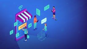 Isometric σε απευθείας σύνδεση αγορές και απεικόνιση WI-Fi Στοκ Εικόνες