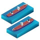 Isometric σκάφος εμπορευματοκιβωτίων Σκάφος φορτίου Λεπτομερές διάνυσμα φορτηγών πλοίων που απομονώνεται Σφαιρική αντίληψη ναυτιλ Στοκ Εικόνες