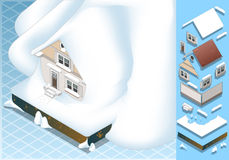 Isometric σπίτι που χτυπιέται από την καθίζηση εδάφους του χιονιού ελεύθερη απεικόνιση δικαιώματος