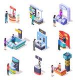 Isometric στάσεις EXPO Στάβλοι στάσεων και εμπορίου επίδειξης έκθεσης με τους ανθρώπους τρισδιάστατο διανυσματικό σύνολο διανυσματική απεικόνιση