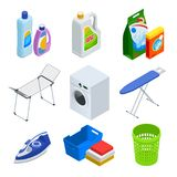 Isometric στοιχεία υπηρεσιών πλυντηρίων καθορισμένα Στοκ Εικόνα