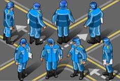 isometric στρατιωτικοί αστυφύλακες που τίθενται ελεύθερη απεικόνιση δικαιώματος