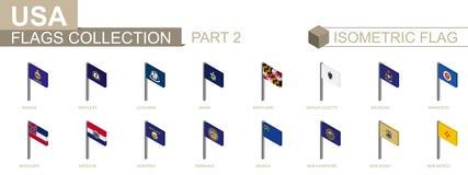 Isometric συλλογή σημαιών, τα αμερικανικά κράτη καθορισμένα το μέρος 2 διανυσματική απεικόνιση