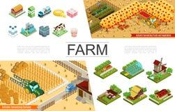 Isometric συλλογή στοιχείων γεωργίας διανυσματική απεικόνιση