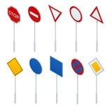 Isometric συλλογή σημαδιών κυκλοφορίας απεικόνιση αποθεμάτων