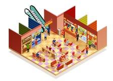 Isometric σύνθεση δικαστηρίου τροφίμων ελεύθερη απεικόνιση δικαιώματος