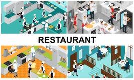 Isometric σύνθεση μαγειρέματος εστιατορίων διανυσματική απεικόνιση