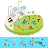 Isometric σύνθεση πάρκων πόλεων με τους ενεργούς ανθρώπους και το χώρο στάθμευσης ποδηλάτων δραστηριότητα υπαίθρια διανυσματική απεικόνιση