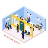 Isometric σύνθεση πρόσληψης απασχόλησης ελεύθερη απεικόνιση δικαιώματος